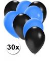 30x ballonnen zwart en blauw