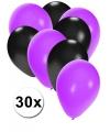 30x ballonnen zwart en paars