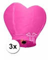 3x wensballon roze hart 100 cm