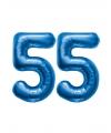 55 jaar folie ballonnen blauw