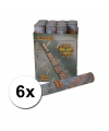 6 confetti shooters 30 cm zilver