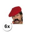 6 franse baretten rood