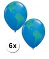 6 wereldbol ballonnen 40 cm