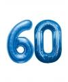 60 jaar folie ballonnen blauw