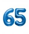 65 jaar folie ballonnen blauw