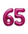 65 jaar folie ballonnen roze