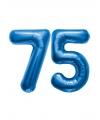 75 jaar folie ballonnen blauw
