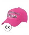 8 roze vrijgezellen team petjes voor dames