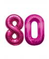 80 jaar folie ballonnen roze