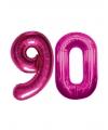 90 jaar folie ballonnen roze