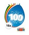 Ballonnen 100 jaar van 30 cm 16 stuks gratis sticker