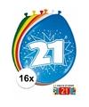 Ballonnen 21 jaar van 30 cm 16 stuks gratis sticker