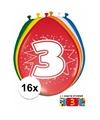 Ballonnen 3 jaar van 30 cm 16 stuks gratis sticker