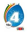 Ballonnen 4 jaar van 30 cm 16 stuks gratis sticker