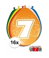 Ballonnen 7 jaar van 30 cm 16 stuks gratis sticker