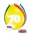 Ballonnen 70 jaar van 30 cm 16 stuks gratis sticker