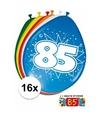 Ballonnen 85 jaar van 30 cm 16 stuks gratis sticker