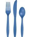 Blauw plastic bestek 24 delig
