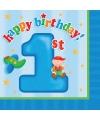 Blauwe verjaardag servetten 1 jaar