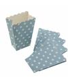 Blauwe wegwerp popcornbakjes met witte stippen 8x