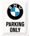 Bmw parking only bord wit 30 x 40 cm