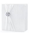 Bruiloft gastenboek wit met rozet