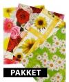Cadeau inpakpapier met bloemen print 4 stuks