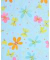 Cadeaupapier blauw met bloemen