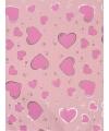 Cadeaupapier lichtroze met roze harten