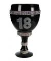 Champagne glas met glitter 18 jaar