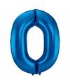 Cijfer 0 ballon blauw 86 cm