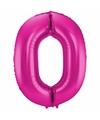 Cijfer 0 ballon roze 86 cm