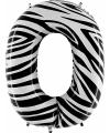Cijfer 0 ballon zebra