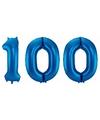 Cijfer 100 ballon blauw 86 cm