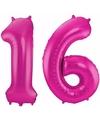 Cijfer 16 ballon roze 86 cm