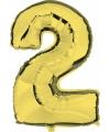 Cijfer 2 ballon goud