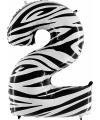 Cijfer 2 ballon zebra