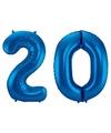 Cijfer 20 ballon blauw 86 cm