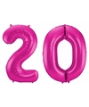 Cijfer 20 ballon roze 86 cm