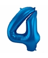 Cijfer 4 ballon blauw 86 cm