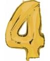 Cijfer 4 ballon goud