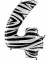 Cijfer 4 ballon zebra