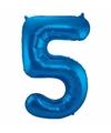 Cijfer 5 ballon blauw 86 cm