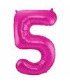 Cijfer 5 ballon roze 86 cm