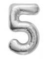 Cijfer 5 ballon zilver 86 cm