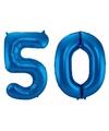 Cijfer 50 ballon blauw 86 cm