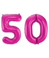 Cijfer 50 ballon roze 86 cm