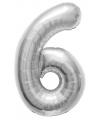 Cijfer 6 ballon zilver 86 cm