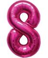 Cijfer 8 ballon roze 86 cm