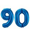 Cijfer 90 ballon blauw 86 cm